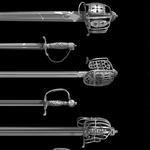 Historical 18th and 19th Century Swords in Single Row Extra Large Print
