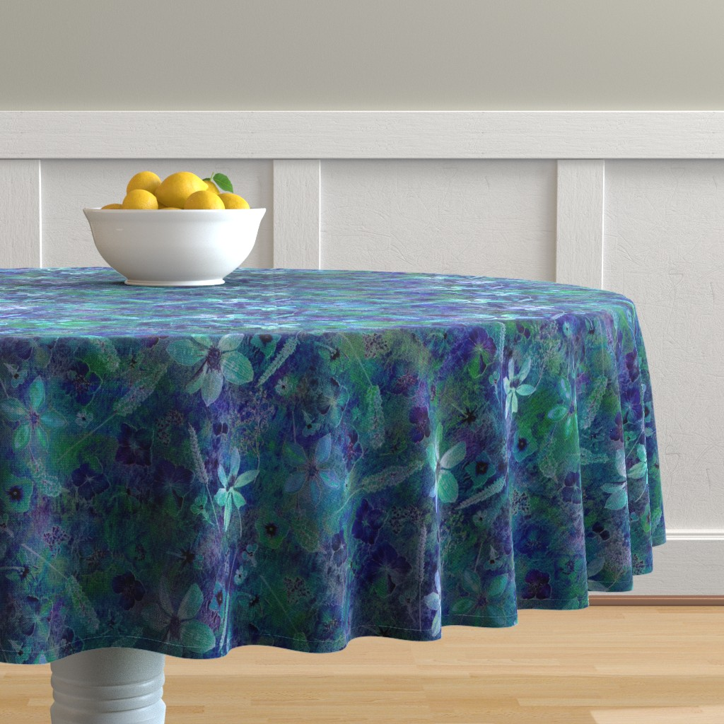 Malay Round Tablecloth featuring Teal Dark Floral by mypetalpress