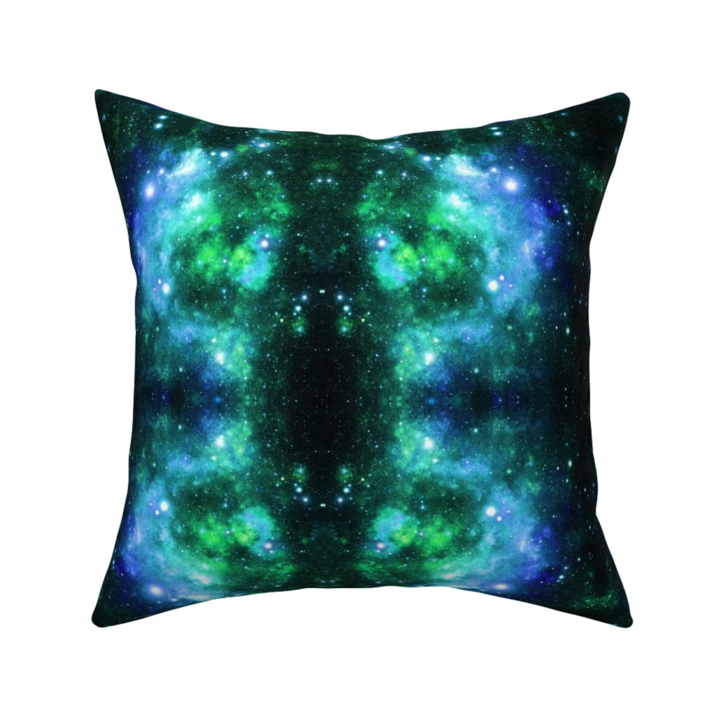 Catalan Throw Pillow featuring Blue Green Space Stars by inspirationz