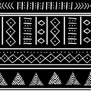 Mudcloth pattern - Black and White ethnic tribal geometric