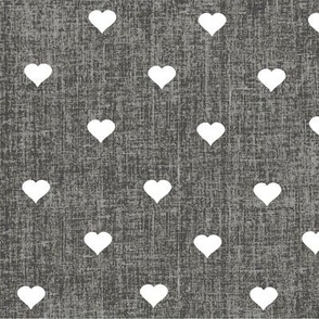 hearts on charcoal grey textured background (large print)