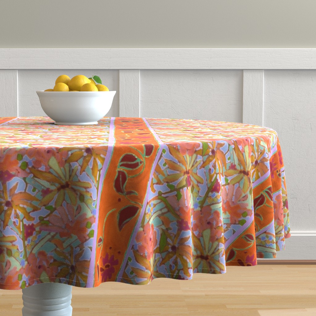 Malay Round Tablecloth featuring Wildflower Pastels Wide Stripe Orange by dorothyfaganartist