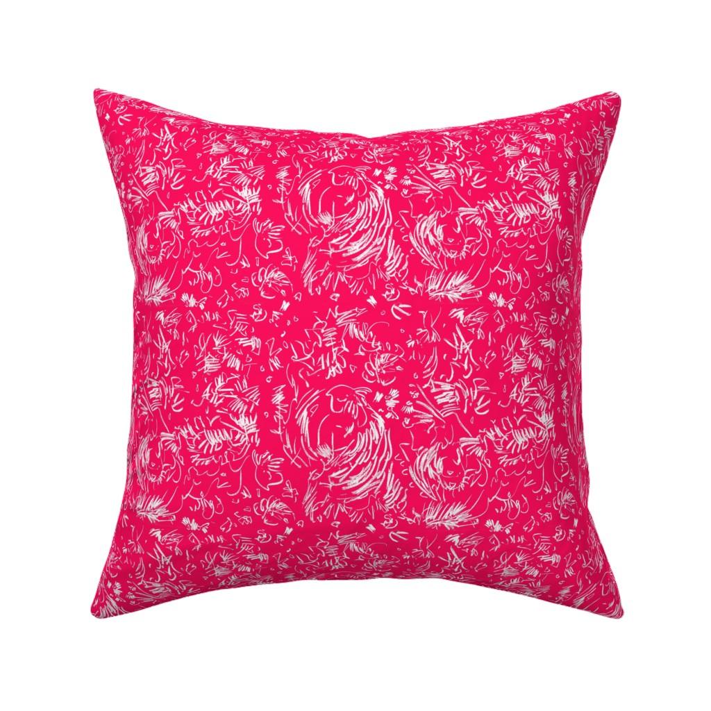 Catalan Throw Pillow featuring Wildflower Pastels Wide Stripe Orange by dorothyfaganartist