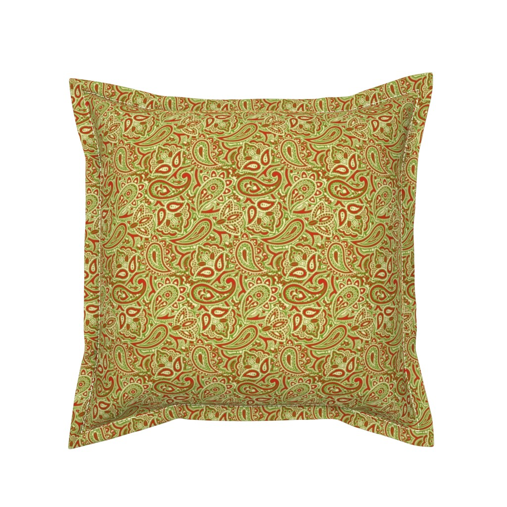 Serama Throw Pillow featuring Persnickety Paisley ~ Christmas by peacoquettedesigns