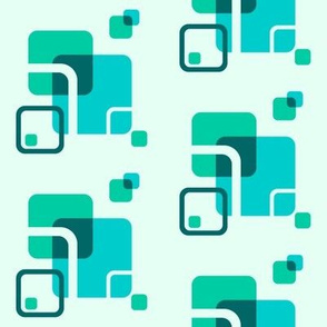 Stylized Flower Matching Blocks - 4in (teal)