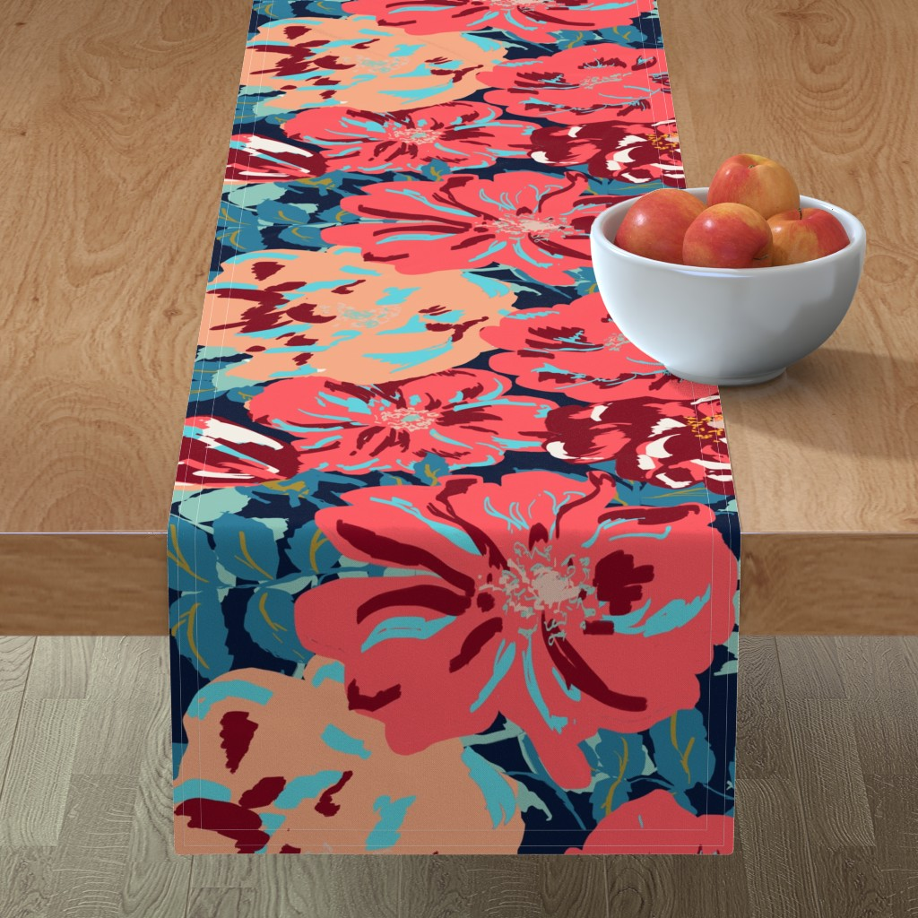 Minorca Table Runner featuring Wildroses 2 by susanna_nousiainen