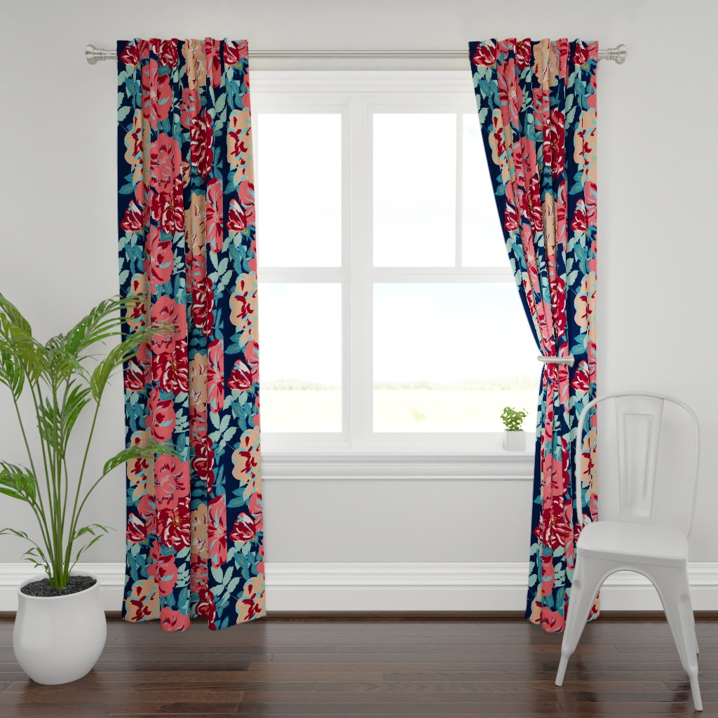 Plymouth Curtain Panel featuring Wildroses 2 by susanna_nousiainen