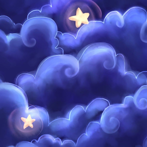 Dreamy clouds and stars