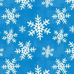 8-Bit Snow Flake - Blue