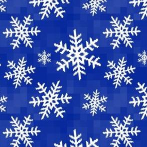 8-Bit Snow Flake - Dark Blue
