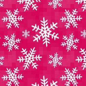 8-Bit Snow Flake - Hot Pink