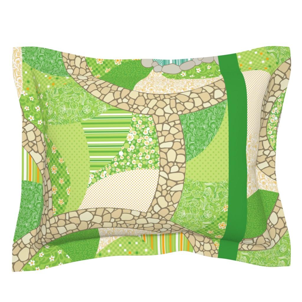 Sebright Pillow Sham featuring Garden Play Quilt by jillianmorris