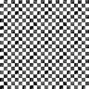 Black and Gray with White Checkerboard