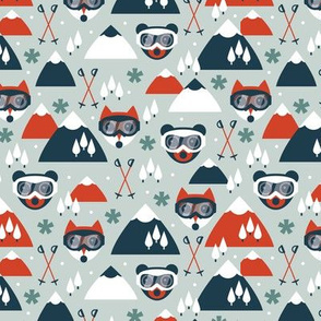 Retro ski fox and grizzly bear goggles winter woodland scandinavian mountain for kids