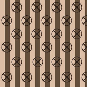 Steampunk - Brown and light brown stripes with wheels