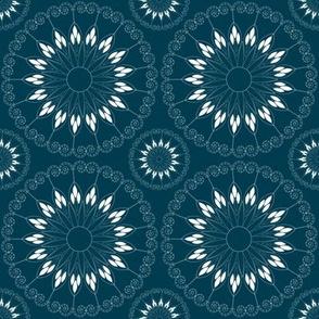 Stylized blue flower pattern