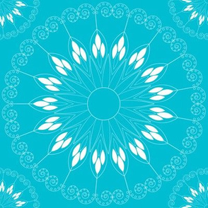 stylized light blue flower pattern