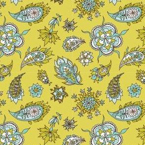 Paisley on mustard background