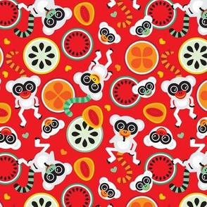 Maki monkey fruit pattern cool summer monkey print for kids