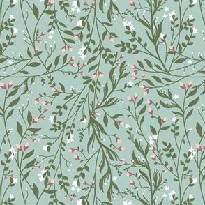 Regency Floral in Dark Green Snow Flowers