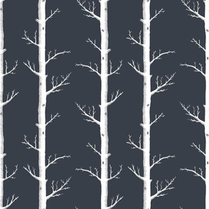 Birch Tree White on Charcoal