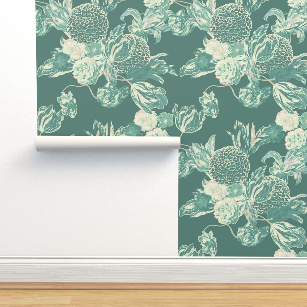 Mid Century Modern Floral Hummingbird On Isobar By