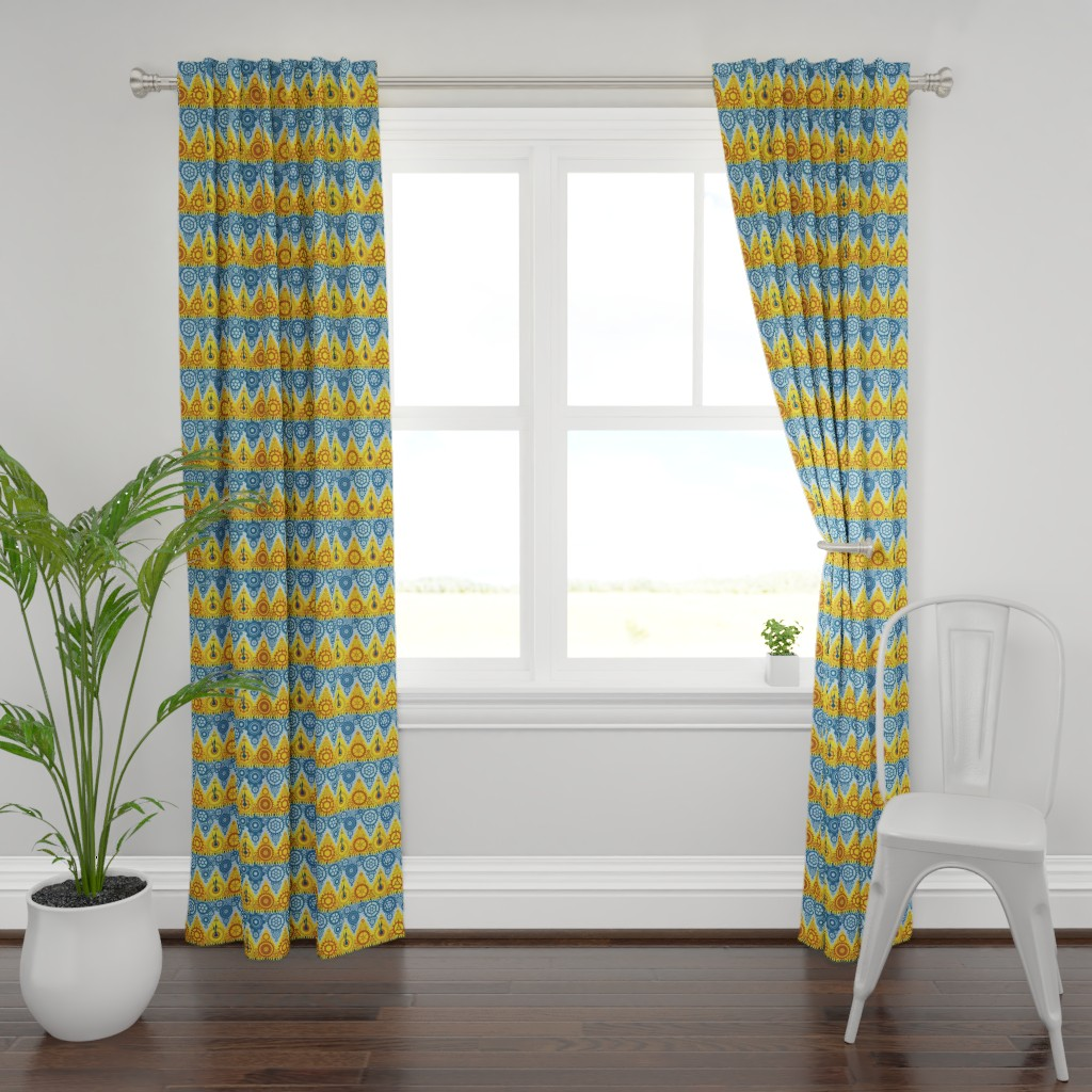 Plymouth Curtain Panel featuring Clockwork Crowns by elramsay