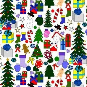 Christmas Fabric Snowman, Trees, Candy Canes, Stockings, Presents, Wreaths, Stars, Flowers and Mittens Collage