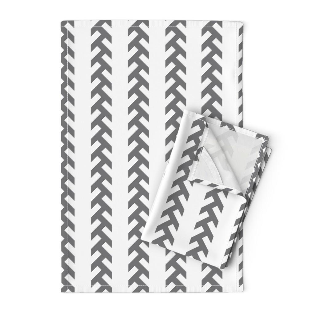 Orpington Tea Towels featuring Tractor tracks- GREY- EK by newmomdesigns