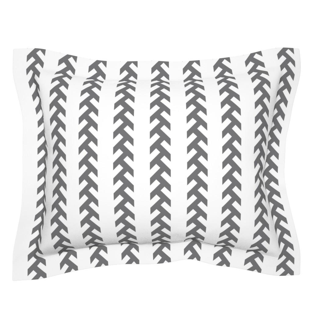 Sebright Pillow Sham featuring Tractor tracks- GREY- EK by newmomdesigns