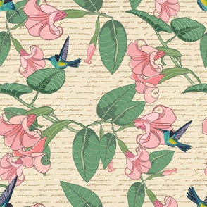 Cottage Style Hummingbird and Angel's Trumpet with Script