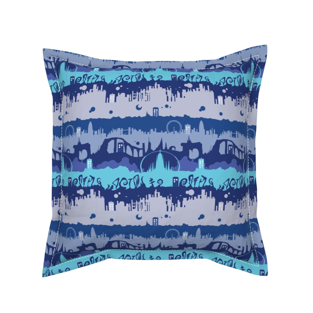 Serama Throw Pillow featuring Timey Wimey - Blu - 01 - landed by aliceelettrica