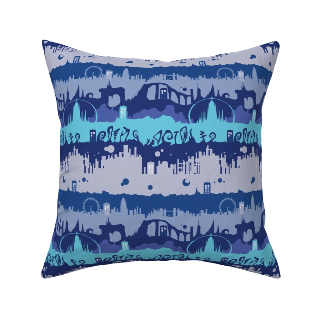 Catalan Throw Pillow featuring Timey Wimey - Blu - 01 - landed by aliceelettrica