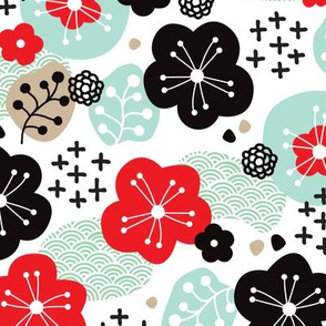 Japan cherry blossom flowers for print mint red