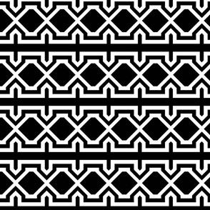 Truncated Square Stripes - Black White