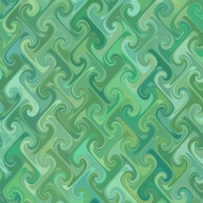 Diamond-pattern serene green swirls