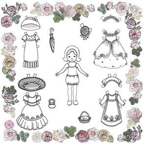 Paper Doll and Roses Color