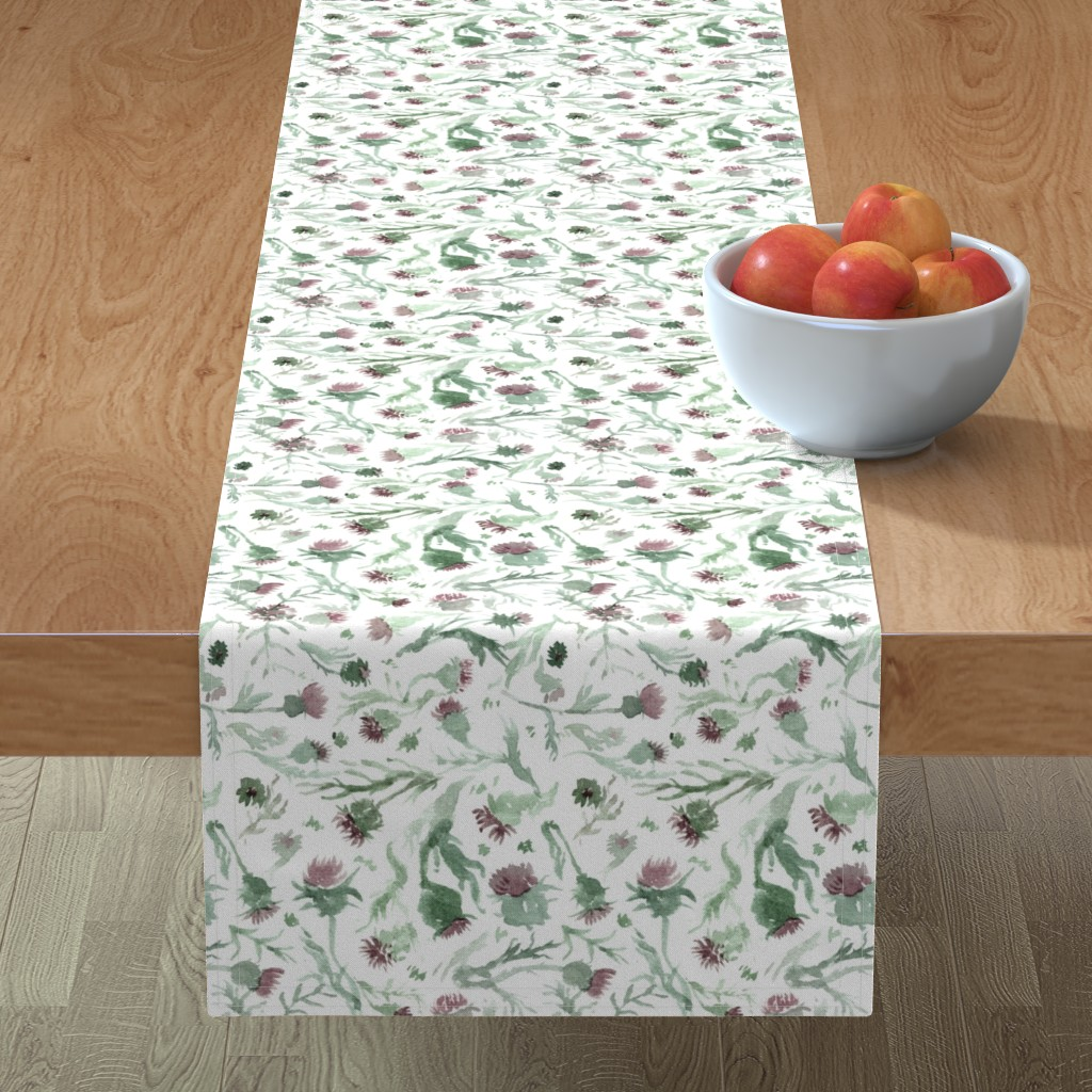 Minorca Table Runner featuring thistle Watercolor by aliceelettrica