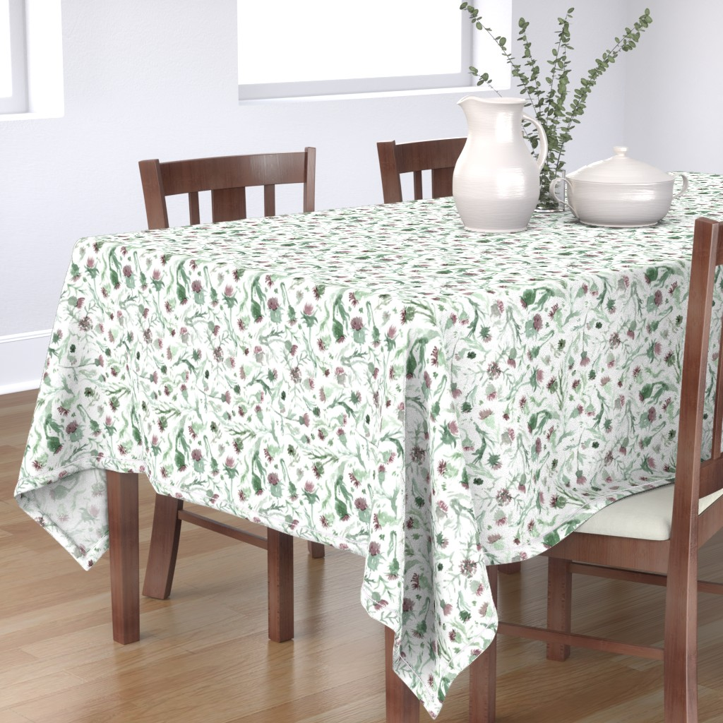Bantam Rectangular Tablecloth featuring thistle Watercolor by aliceelettrica
