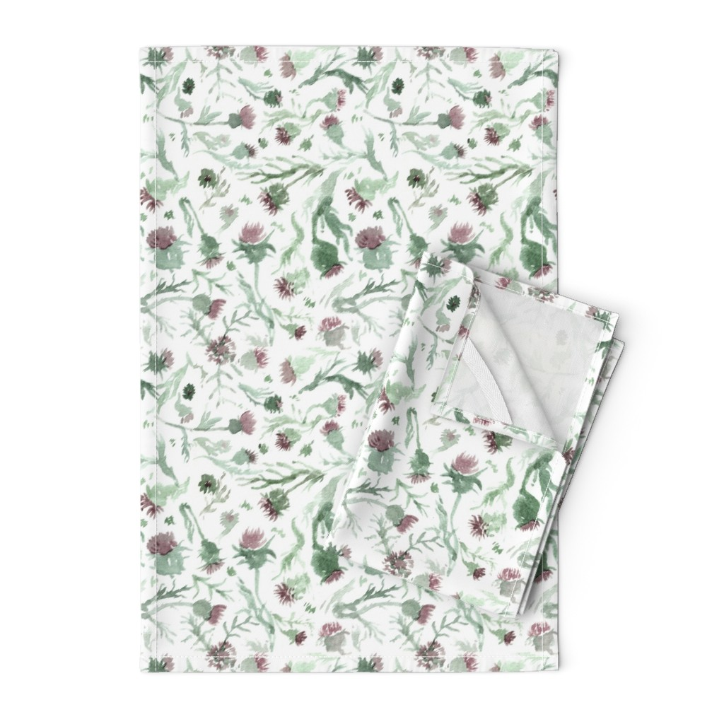 Orpington Tea Towels featuring thistle Watercolor by aliceelettrica