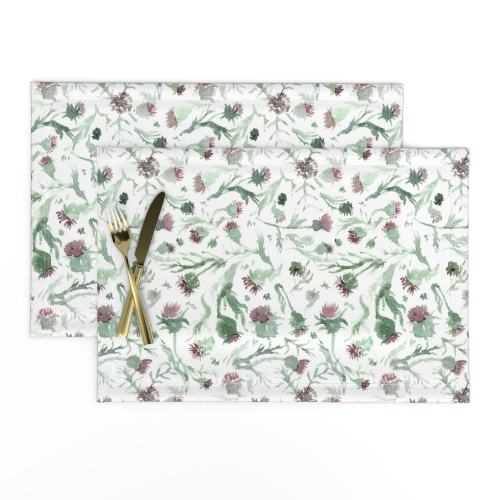 Lamona Cloth Placemats featuring thistle Watercolor by aliceelettrica