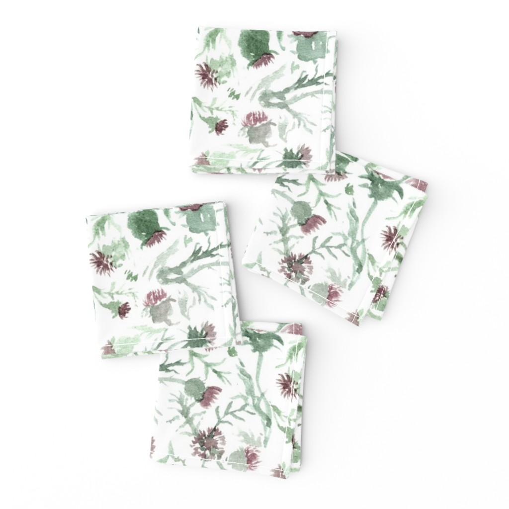 Frizzle Cocktail Napkins featuring thistle Watercolor by aliceelettrica