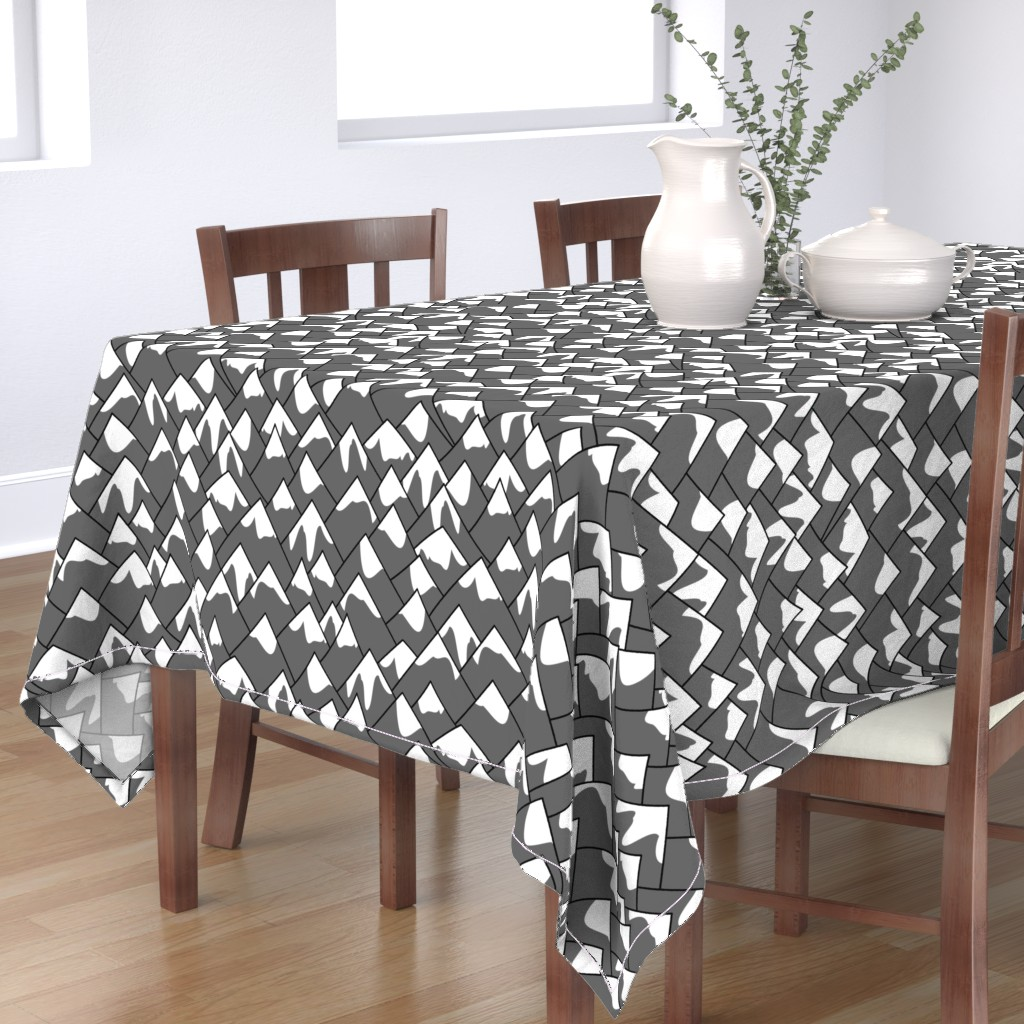 Bantam Rectangular Tablecloth featuring Mountain peaks gray by spacefem
