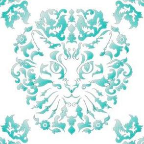 Cat Damask (Turquoise)