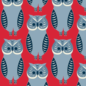 Blue Owls on Red