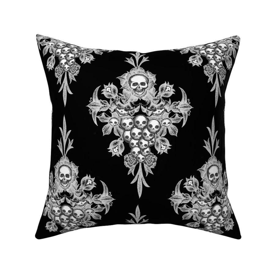Custom Printed Removable Self Adhesive Wallpaper Roll by Spoonflower Skull Damask Wallpaper Skull Flower Damask Negative By Thecalvarium