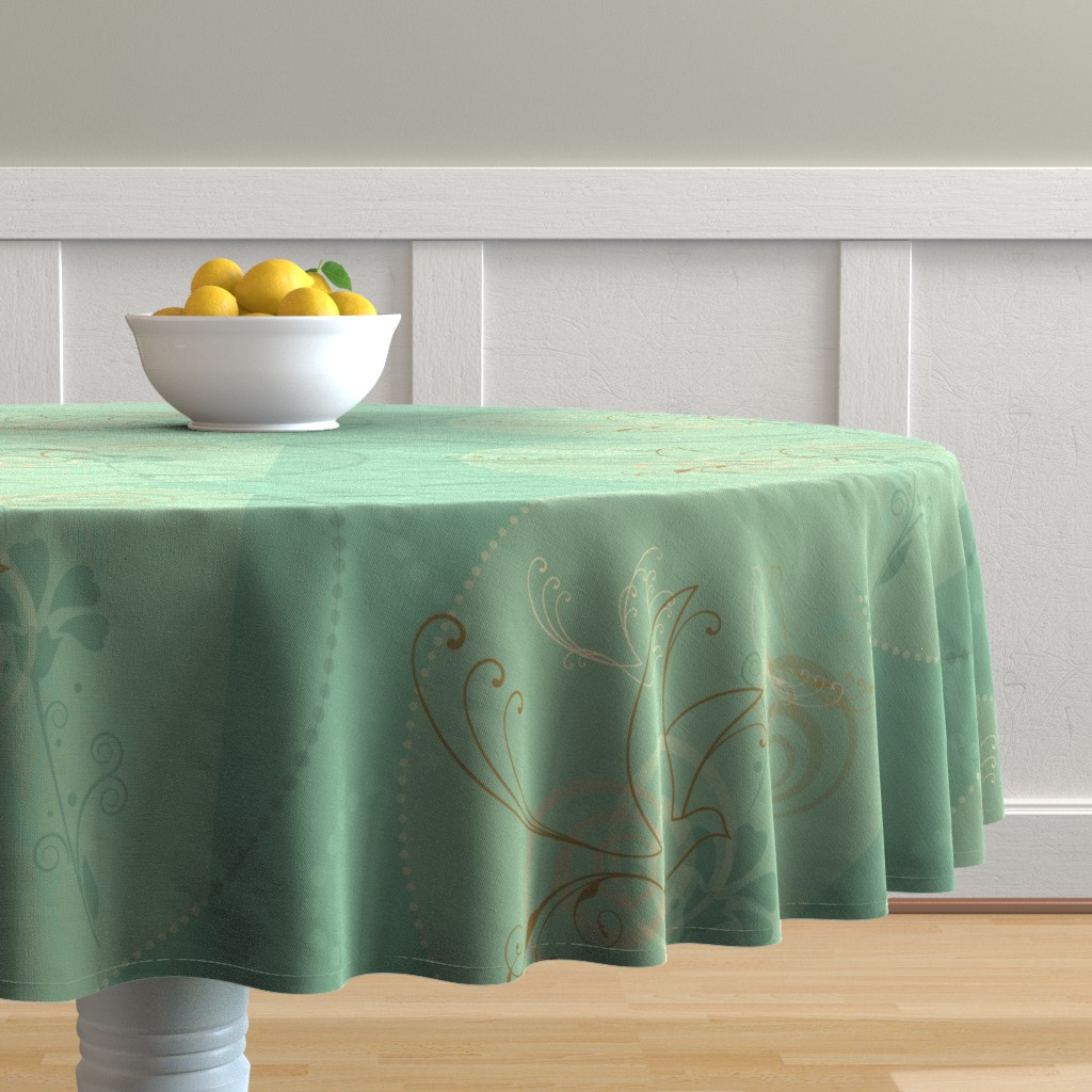 Malay Round Tablecloth featuring Swirl Birds by cherie
