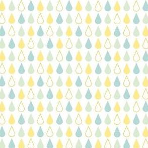 Rain drops - spring palette blue yellow