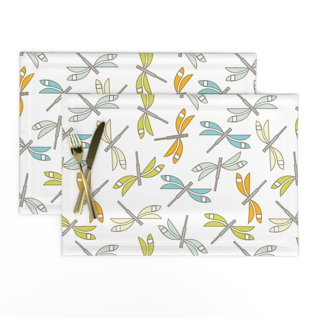 Lamona Cloth Placemats featuring Dragonfly, white lg by cindylindgren