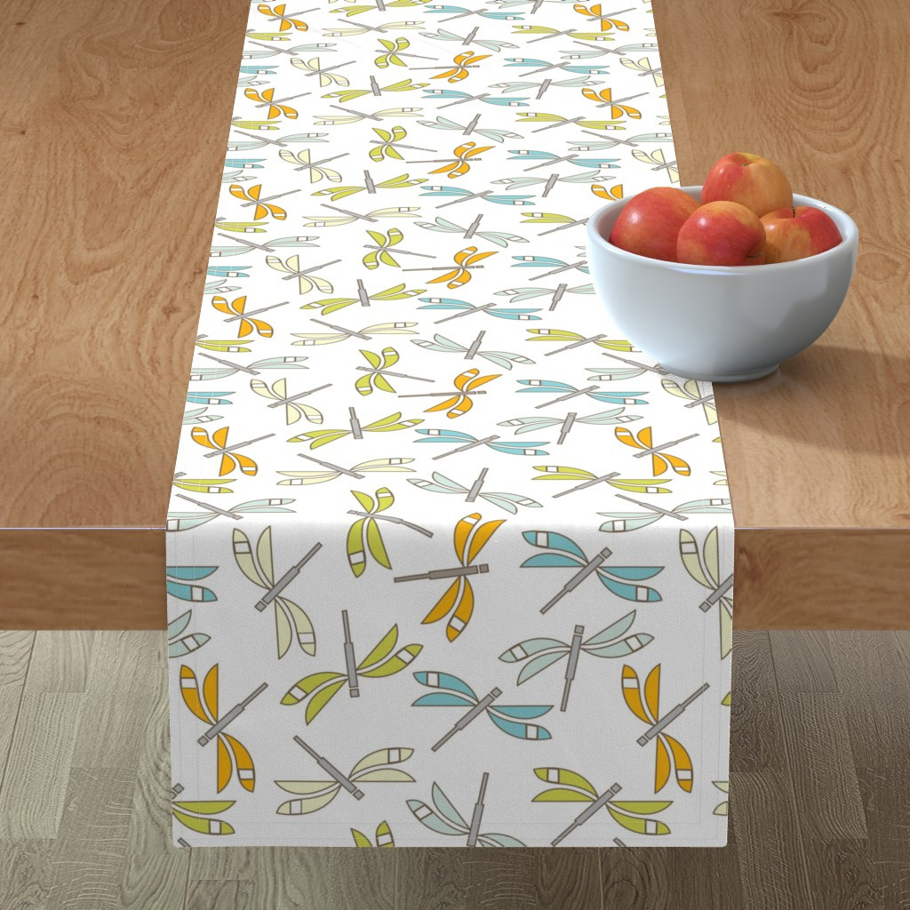 Minorca Table Runner featuring Dragonfly, white lg by cindylindgren